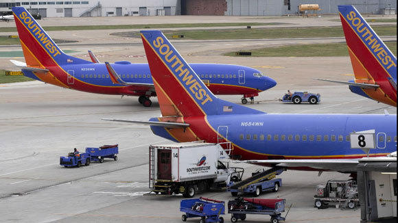 Southwest jets at the airline's hub at Love Field in Dallas.
