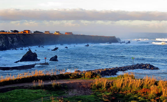 The sea -- and the view -- is ever shifting near the harbor mouth in Fort Bragg, a delightful Northern California community.