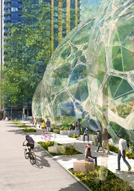 An artist's rendering associated with Amazon's proposed downtown Seattle campus.