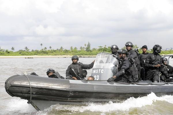 Nigerian naval special forces take part in a joint military exercise in Lagos. The waters off West Africa have supplanted the coast of Somalia as one of the world's most dangerous sea lanes.