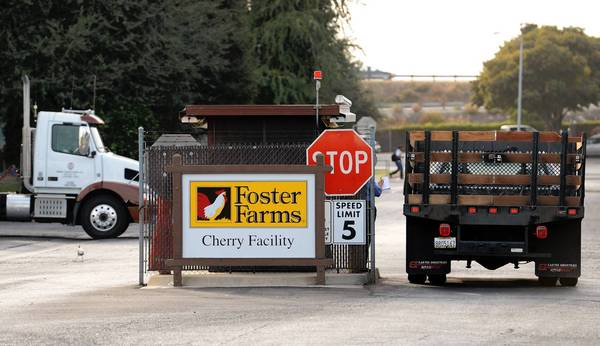 The Foster Farms chicken plant in Fresno is one of three California poultry processing plants linked to a salmonella outbreak.