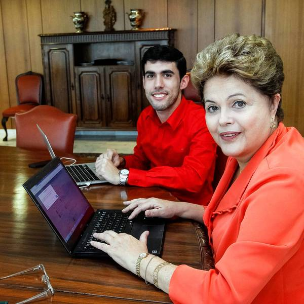 "Jeferson Monteiro, left, creator of the Twitter account ""Dilma Bolada,"" which parodies Brazilian President Dilma Rousseff, tweets with her at the presidential palace in Brasilia."