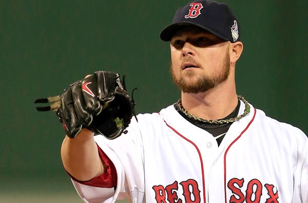 Red Sox starting pitcher Jon Lester had rosin on the inside of his glove during Game 1 of the World Series on Wednesday night.