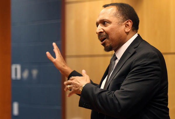 Candidate for Virginia Lt. Governor E.W. Jackson answers questions at a candidate forum at the Newport News school admin building Thursday evening.