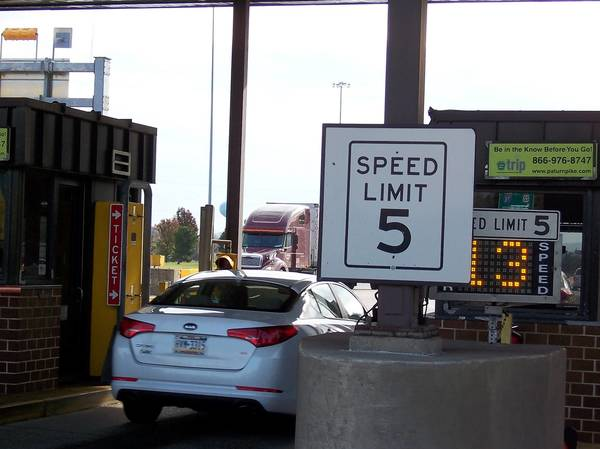 Most E-ZPass customers exceed the prominently posted 5 mph speed limit at Turnpike toll lanes.