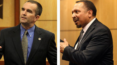 Candidates for Virginia Lt. Governor Ralph Northam, left, and E.W. Jackson, right, answered questions at a candidate forum at the Newport News school admin building Thursday evening.
