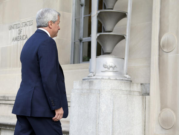 James Dimon, chairman and chief executive of JPMorgan Chase, arrives at the Justice Department in Washington last month. A civil fraud case against JPMorgan Chase has been filed in Sacramento.