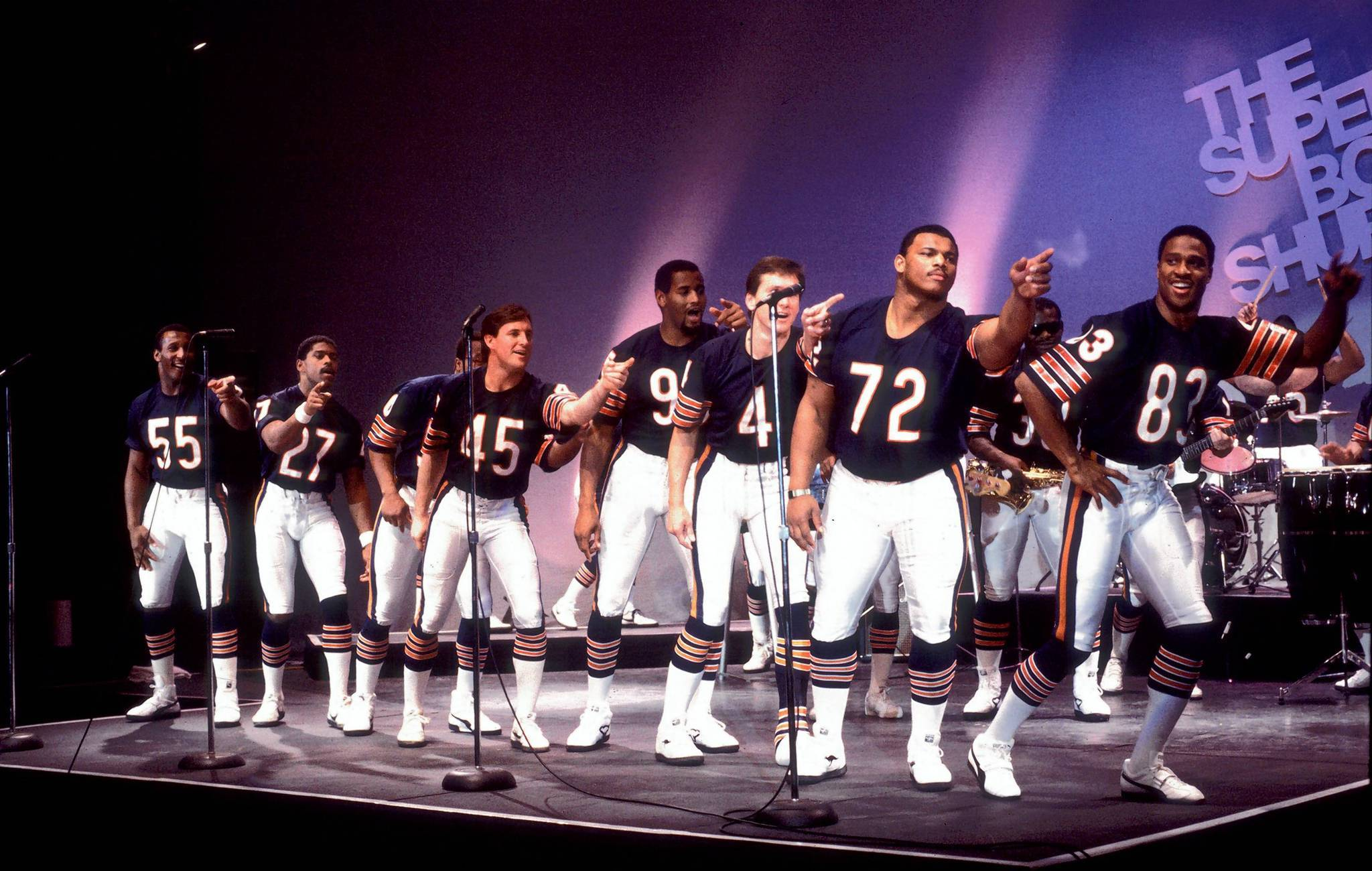 "Chicago Bears players during filming of the ""Super Bowl Shuffle."""