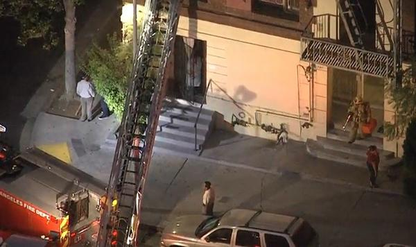 A man was rescued after getting stuck in a chimney early Friday morning in Koreatown.