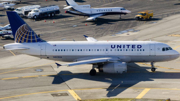 A United jet is shown in Santa Ana, Calif., in 2012.