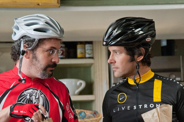 "Two guys who enjoy the open roads of L.A.'s Westside from the seats of their bikes: Barry (Robert Smigel), left, and Pete (Paul Rudd), in the movie ""This Is 40."""