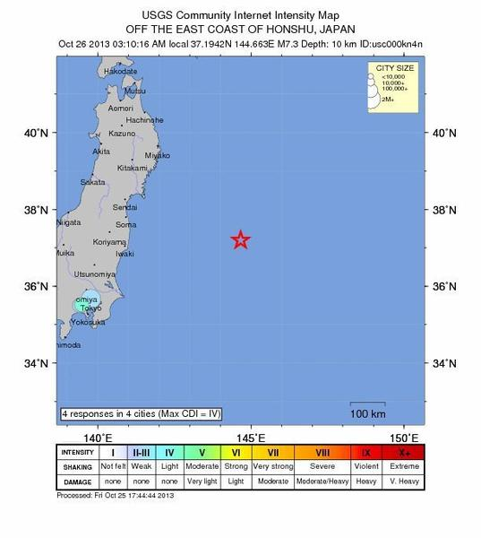 A handout image made available by the U.S. Geological Survey (USGS) on Friday shows a shake map of a magnitude 7.3 earthquake that struck off the eastern coast of Japan.