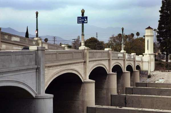 In 2010, L.A. approved a plan that would put bike lanes on the Glendale-Hyperion Bridge, pictured above. Recently, however, the city has been moving forward with a bridge redesign that leaves the bike lanes out. (Los Angeles Times)