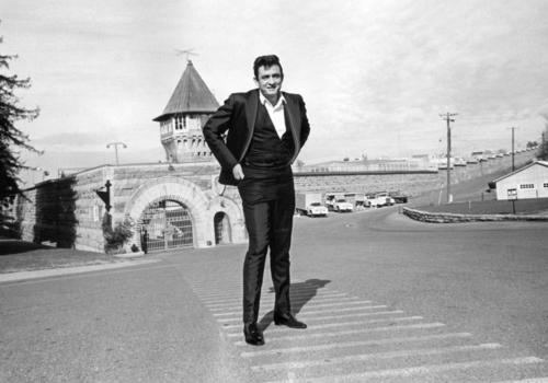 Johnny Cash outside the walls of Folsom Prison before his 1968 performance.
