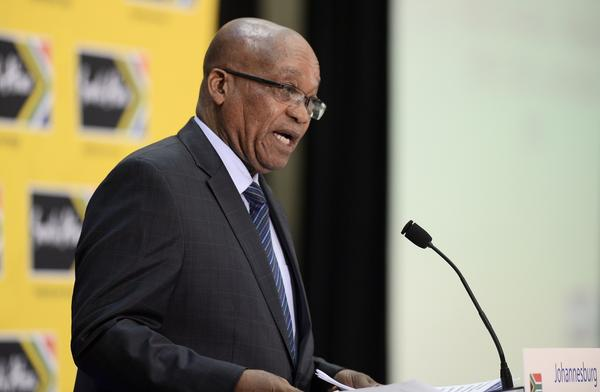 South African President Jacob Zuma delivers a speech during a business forum with France in Johannesburg.