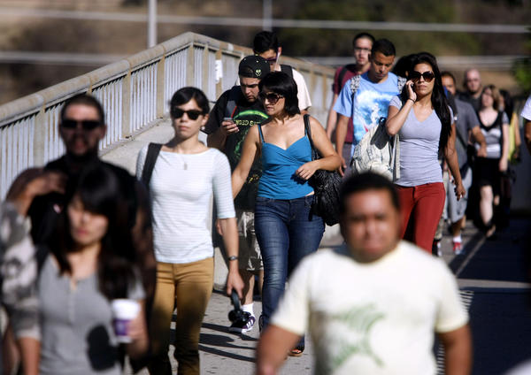 Large crowds of students arrived for classes on the first day of Fall classes at Glendale Community College on September 3, 2013.