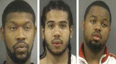 Left to right: Montrail Stringfield, of Wakefield, is charged with attempted malicious wounding, use of a firearm in commission of a felony and maliciously shooting or throwing at a vehicle. Raiheem Shakim Winfield of Ivor, Darryl Shaw of Waverly, and Horace Lee Thomas III of Spring Grove are each charged with murder, two counts of malicious wounding and two counts of use of a firearm in the commission of a felony. Robert Larry Rose, of Dendron, is charged with murder, three counts of attempted murder, five counts of use of a firearm in commission of a felony and two counts of malicious wounding.