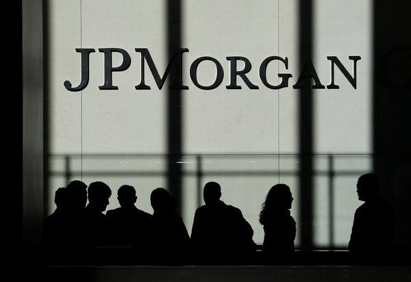 The JPMorgan Chase & Co. logo is displayed at it headquarters in New York on Monday.