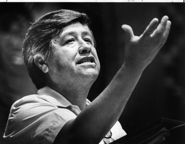 Stories of Chicano leaders like Cesar Chavez, photographed here in 1980, disappeared from Tuscon public schools when several important Latino textbooks were banned.