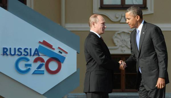 President Obama and Russian President Vladimir Putin shake hands at the Group of 20 summit in St. Petersburg, Russia, in September. Russia and the U.S., though often at odds, still cooperate on issues that are of vital importance to them.