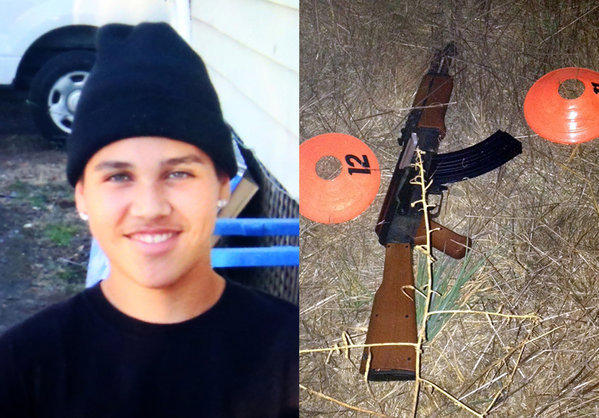 This combination of photos provided by the family via The Press Democrat and the Sonoma County Sheriff's Department shows an undated photo of 13-year-old Andy Lopez and the replica assault rifle he was holding when he was shot and killed by two Sonoma County deputies in Santa Rosa.