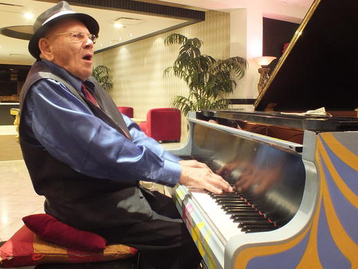 94-year-old Joe Vento performs on a recent Saturday evening at the Royal Resort in Las Vegas.