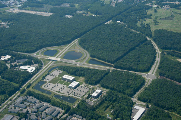 An aerial view of the Hampton Roads Center North at Magruder and Command Sheppard boulevards, where the National Institute of Aerospace and the city of Hampton are planning a science park to spur entrepreneurial activity.