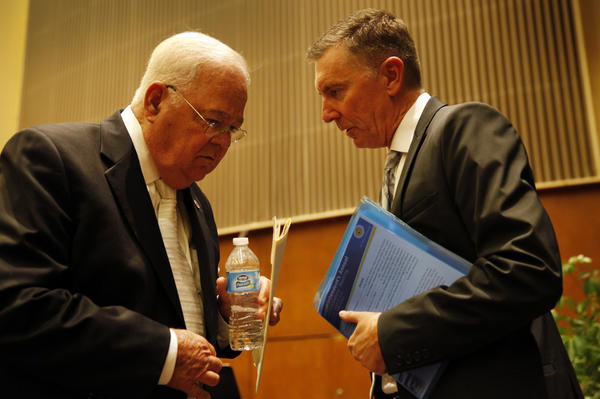 School board President Richard Vladovic, left, and Los Angeles Unified Supt. John Deasy talk at a school board meeting last summer.