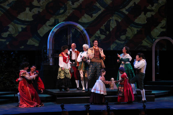"Projected backdrop, set design and costumes all complement the music in the Orlando Philharmonic's ""The Barber of Seville."""