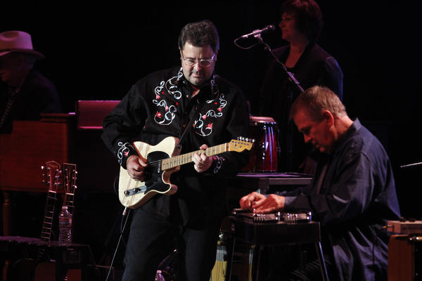 "Country singer-guitarist Vince Gill, left and his collaborator, Paul Franklin, play music from their ""Bakersfield"" tribute album at the Rabobank Theater in Bakersfield."