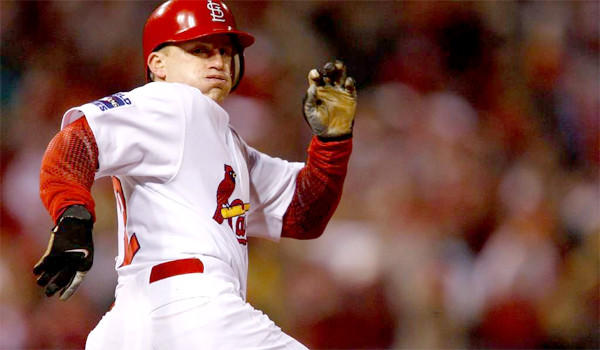 David Eckstein runs the bases during Game 5 of the 2006 World Series, in which the St. Louis shortstop was voted most valuable player. The Cardinals won the series, four game to one, over the Detroit Tigers.