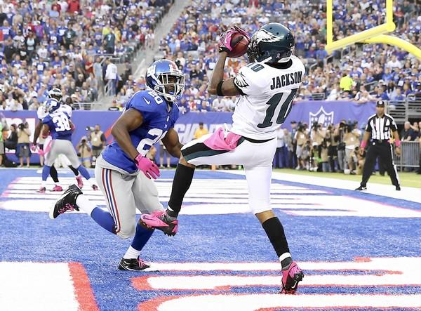 DeSean Jackson #10 of the Philadelphia Eagles scores a touchdown in the fourth quarter as Prince Amukamara #20 of the New York Giants defends at MetLife Stadium on October 6, 2013 in East Rutherford, New Jersey.
