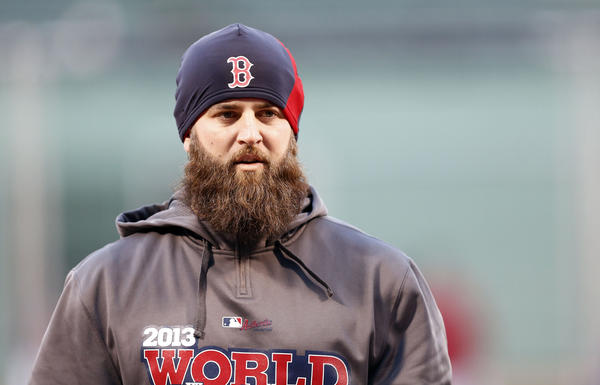 The Red Sox's Mike Napoli warms up during batting practice prior to Game 2.