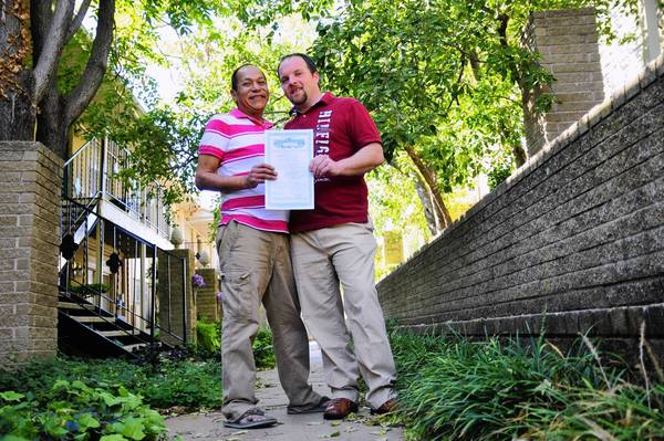 Darren Black Bear, left, and Jason Pickel were issued a marriage license by the Cheyenne and Arapaho Tribes, which allows same-sex marriage in a state that does not.