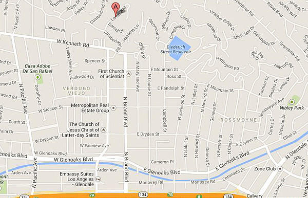 A map shows the approximate location where a mountain lion was seen in Glendale.