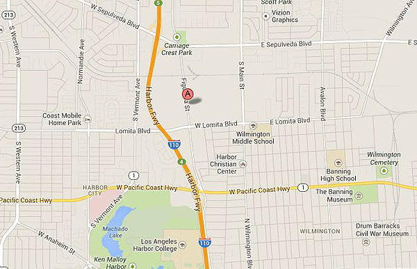 Map shows approximate location of where human remains were found in Carson.