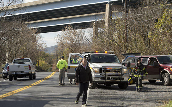 A staging area is set up along Easton Road near Interstate 78 in Lower Saucon Township on Sunday afternoon. The highway was closed for about an hour in both directions between Routes 412 and 33 while authorities investigated a gas leak at a UGI facility on Easton Road.