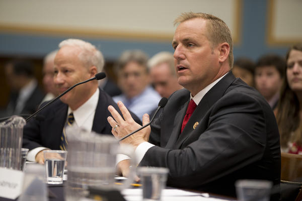 Rep. Jeff Denham (R-Turlock) right, testifies on Capitol Hill in July. He has announced his support for a broad immigration overhaul bill.