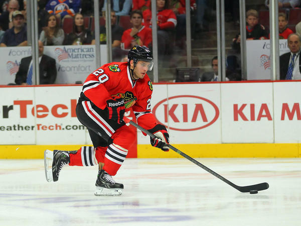 Brandon Saad with the puck during the third period against the Islanders at.