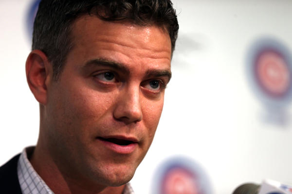 Cubs President of Player operations Theo Epstein fields questions about the firing of manager Dale Sveum.