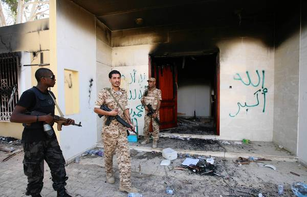 Libyan troops after a terrorist attack on the U.S. mission in Benghazi, Libya, last year.