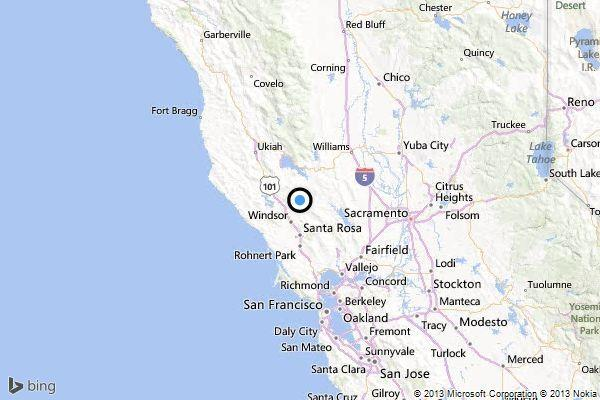 A map shows the location of the epicenter of Sunday evening's quake near The Geysers.