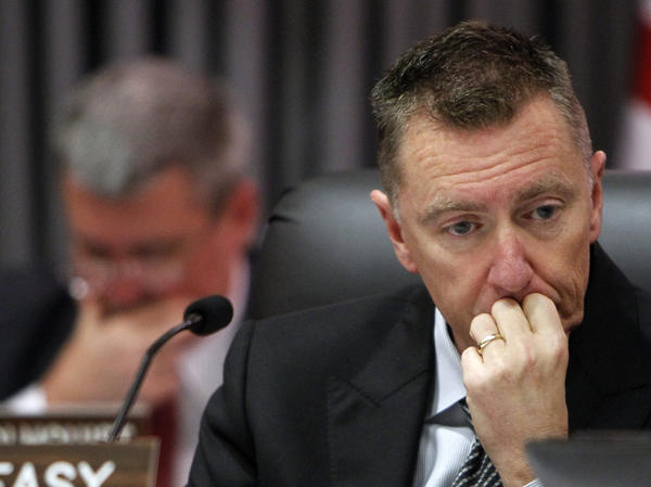 Los Angeles Unified School District Supt. John Deasy listens during a meeting in Los Angeles.