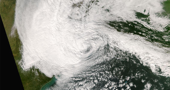 Superstorm Sandy as it strikes the East Coast in late October 2012.
