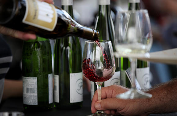 Wine from Old Bridge Cellars is poured for tasters at the annual Chicago Gourmet event in Millennium Park on Saturday, Sept. 28 in Chicago.