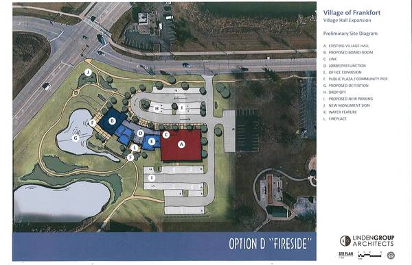Frankfort officials earlier this month selected this site plan for an expansion of the Village Administration Building, a project expected to cost about $5 million. It includes a 3,300-square-foot board room, which would allow trustees to move their meetings out of the basement of the police station, where they have been held for nearly five years.