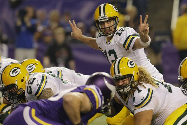 Green Bay quarterback Aaron Rodgers threw for 285 yards with two touchdowns and no interceptions for a 130.6 passer rating in a 44-31 victory over the Minnesota Vikings.