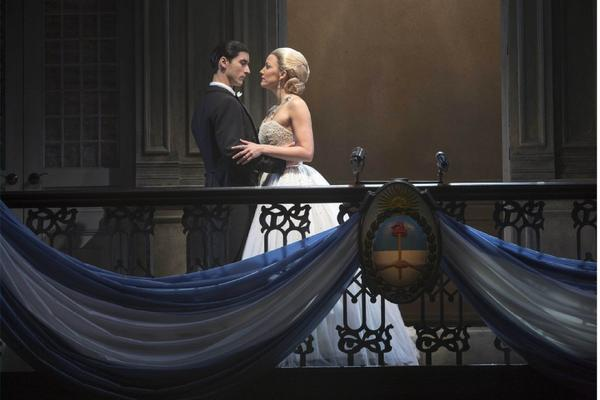 """""""Evita,"""" as re-imagined by Michael Grandage, is making a tour stop at the Pantages Theatre. Caroline Bowman, in the title role, performs opposite Sean MacLaughlin."""