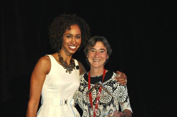 Deerfield's Barb Lazarus, right, posed with ESPN anchor Sage Steele after Lazurus won the espnW Everyday Heroes award.