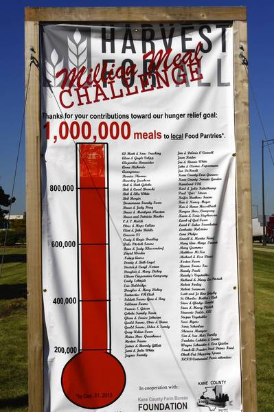 The tally board in the yard of the Kane County Farm Bureau on Randall Road in St. Charles marks The Million Meal Challenge success story.